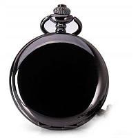 Популярные аналоговые карманные кварцевые часы на цепочке с крышкой Чёрный
