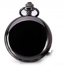 Популярные аналоговые карманные кварцевые часы на цепочке с крышкой - Чёрный