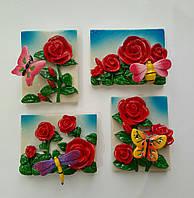 Магнит на холодильник роза микс размер 6*5