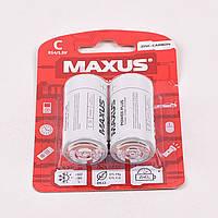 Батарейка MAXUS R-14 (МІНІ-БОЧКА) БЛІСТЕР соляна (біла) 12шт./уп