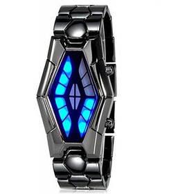 Модные мужские светодиодные научные часы в форме змеиной головы браслет из нержавеющей стали - Кофейный