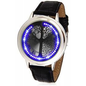 Великолепный дизайн сенсорного управления светодиодный наручные часы с дерево Pattern круглый Циферблат и Кожаный ремешок - Серебряный
