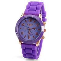Кварцевые часы 8 арабских цифр и полосок показывают резиновую полосу для женщин-фиолетовый Фиолетовый