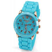 Кварцевые часы 8 арабских цифр и полосок показывают резиновую полосу для женщин-фиолетовый Синий