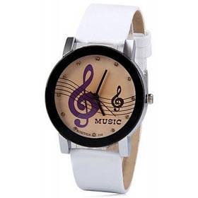 Бесплатная стильные женские часы аналоговые с музыкальными нотами бриллиантами круглый Циферблат Кожаный ремешок для часов - Белый