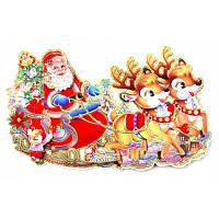 3D-наклейка на окно Санта Клаус оленьей упряжкой Цветной