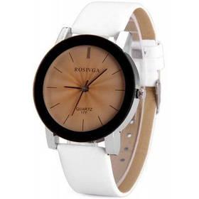 Rosivga 177 Женские кварцевые часы с полосками кожаный ремешок круглый циферблат - Белый
