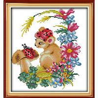 """Набор для вышивания крестиком """"Мышка в цветах"""", в пак.32*35см, 11СТ(D116)"""