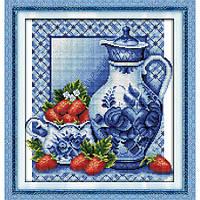 """Набор для вышивания крестиком """"Натюрморт с клубникой"""", в пак.36*38см,(J045)"""