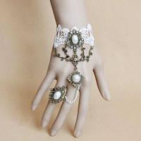 Кружевной браслет с кольцо в стиле Лолиты с искусственным жемчугом один размер