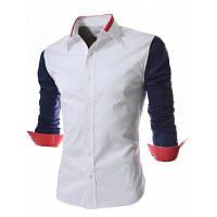 Мода стиль отложным воротником Цвет сращивание slimming длинными рукавами мужская полиэстер рубашка 2XL