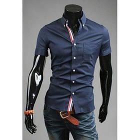 Летние рубашки мужские Военно-Морского Флотавышивка с - Тёмно-синий