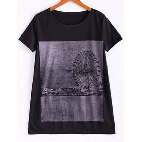 Плюс Размер Chic Street Style короткими рукавами вокруг шеи Женская Длинные черные T-Shirt - Чёрный