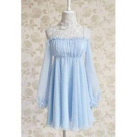 Vintage Noodle ремень Гофрированные вышивки спинки шифон женщин платье - Синий