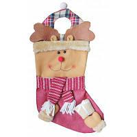 Рождественский декоративный мешок чулок для подарков дизайн лось 78865