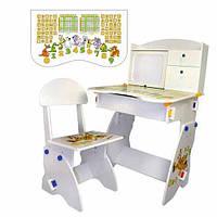 Детская стол-парта Bambi W072 белая. Со стульчиком. парта-растишка