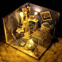 Миниатюрная игрушечная спальня с мебелью DIY Цветной