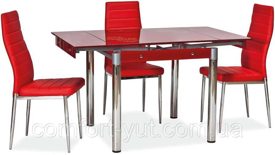 Стол стеклянный раскладной обеденный ТВ21 красный 80\130*65*75