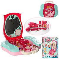 Детское трюмо - сумочка, Туалетный столик для макияжа принцессычемоданчик, аксессуары,008-809A