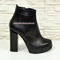 Ботинки зимние женские классические на высоком каблуке, из натуральной кожи, цвет черный.