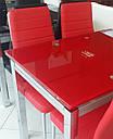 Стол стеклянный раскладной обеденный ТВ21 красный 80\130*65*75, фото 7