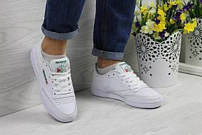Женские кроссовки Reebok Workout, белые с зеленым, материал - натуральная кожа, подошва - прошита 36