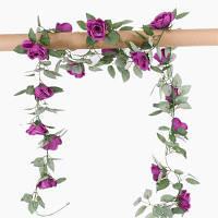 XM1 220CM 16Heads Высокое Моделирование Фиолетовый Роза Цветочный Вайн Свадебное Украшение Домашний Искусственный Цветок Фиолетовый