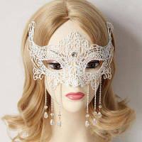 Красивая женская кружевная маска с искусственным кристаллом для косплея на Хэллоуин Белый