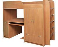 Детская двухъярусная кровать со шкафом и столом Дуэт-1