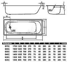 Ванна стальна BLB 1200*700 Португалія, фото 2
