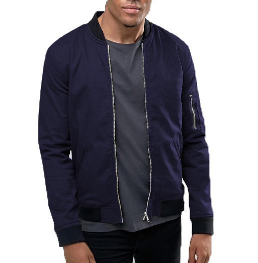 Мужская куртка бомбер на флисе цвета нави