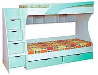 Детская двухъярусная кровать с ящиком для белья Кадет (МДФ)
