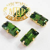 Пришивной прямоугольник в золотых цапах, 5x10 мм, Green