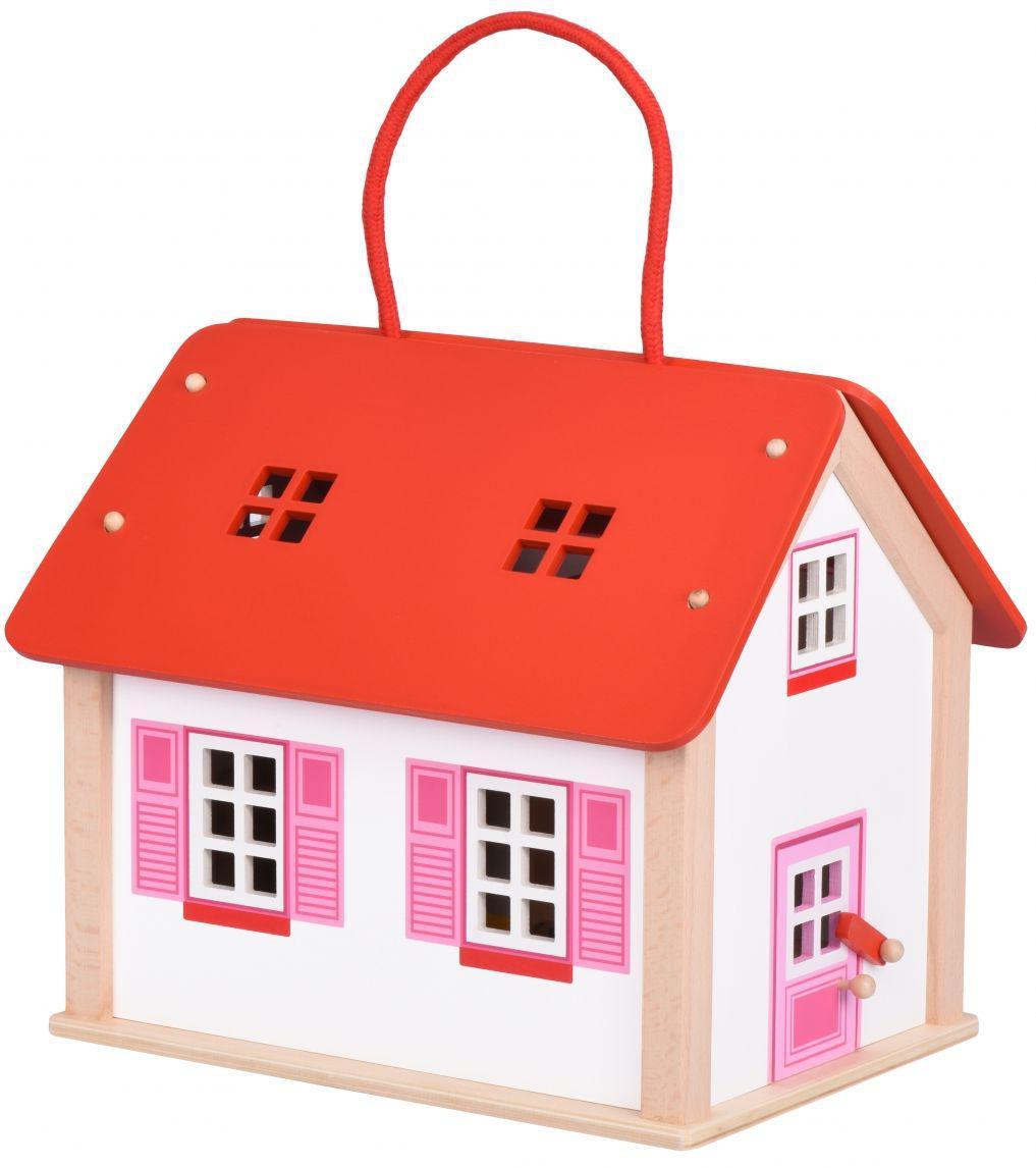 Кукольный домик Дорожный с ручкой из натурального дерева Goki 51780G