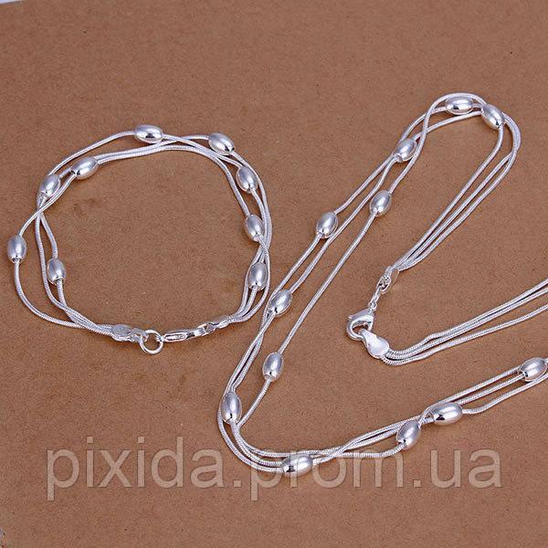 Набор Овал  925 серебро  (браслет и цепочка)