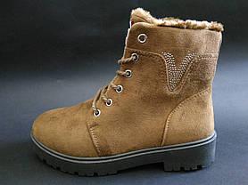 36. 41 размер Коричневые женские ботинки на змейке и шнурках, фото 2