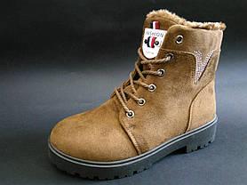 36. 41 размер Коричневые женские ботинки на змейке и шнурках, фото 3