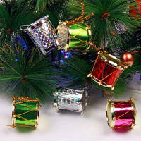 XM1 Рождественские елочные украшения барабаны украшения 2.5 см 12шт Цветной