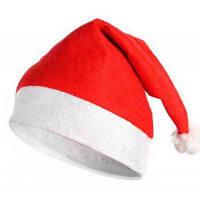 Новогодняя шапка для взрослых украшение 10шт 28 х 38см Красный