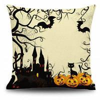 Halloween Pumpkin Castle Square Linen Декоративный чехол для подушки для подушек Цветной