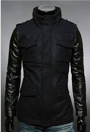 Стильная мужская кашемировая куртка черного цвета, фото 2