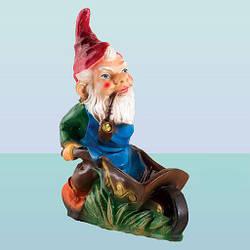 Садовая фигура, скульптура для сада Гном с тачкой (М)