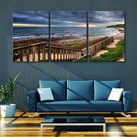 Yc Специальный дизайн Безрамные картины Бордуолк вдоль побережья 3 9 x 13 дюйма (24cм x 34cм)