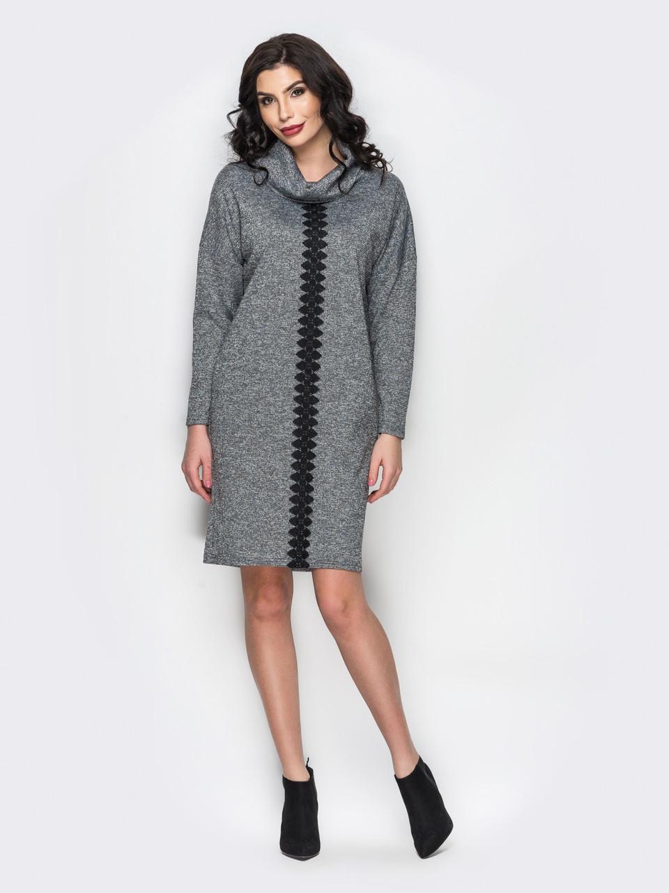 bf064986e57 Серое трикотажное платье прямого кроя с нитью люрекса р.44-46 ...