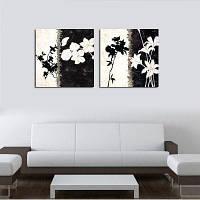 НХ-Арт без рамки холст два комплекта живописи черный и белый абстрактные цветы в гостиной, оформленной картины 80cмx80cмx2
