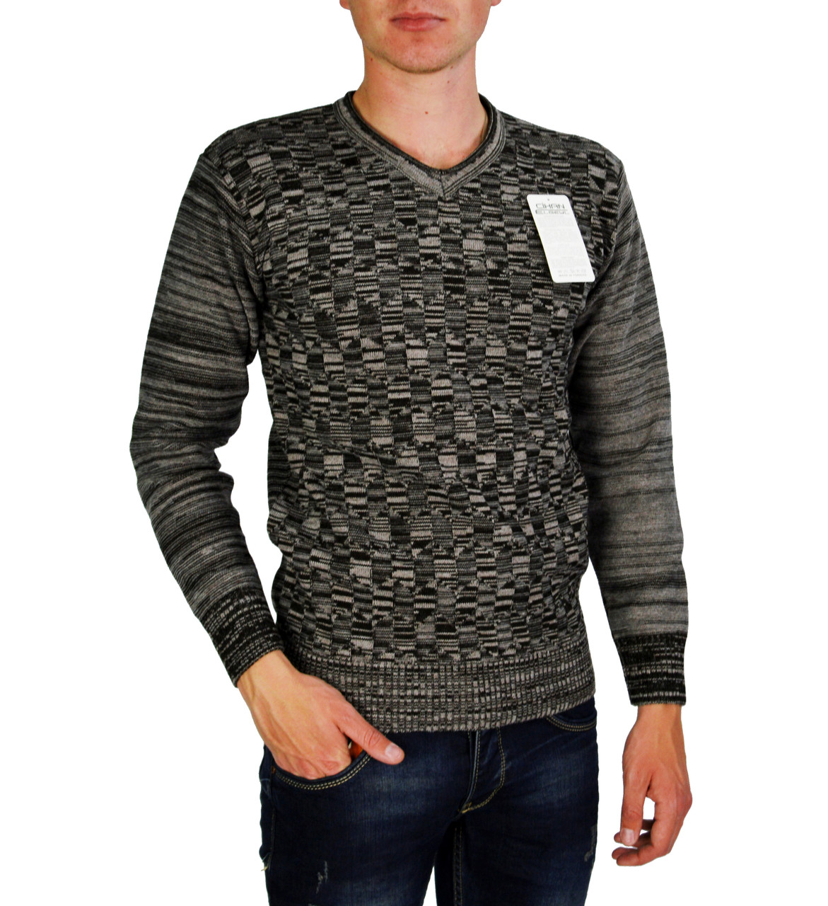 Серо-коричневый свитер мужской, джемпер CIHAN ELBEYLI