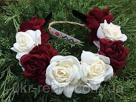 Ободок-веночек «Белые и бордовые розы»