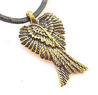 """Амулет Сили """"Крила Ангела"""" - сила Творчості, розміри - 2,6х1,0х0,3 см, В комплекті шнурок 45 см, бронза, метал"""