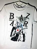 Стильная белая футболка для девочки 8- 14 лет(Польша)