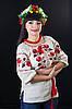 Традиционная белая женская вышиванка с розами, рукав  ¾  , фото 3